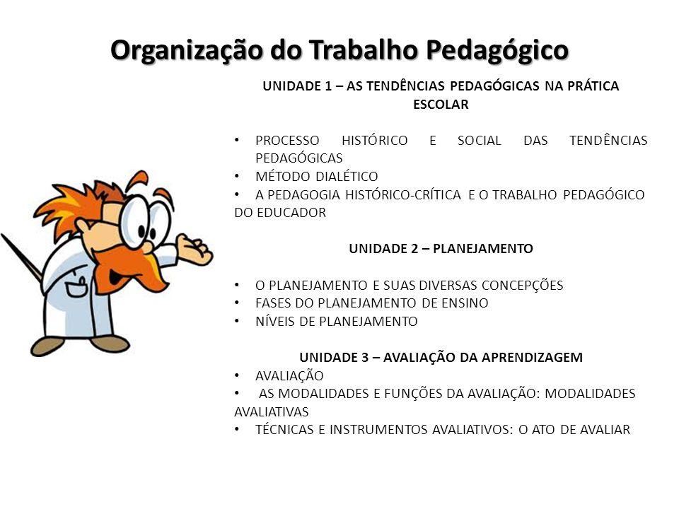 Organização do Trabalho Pedagógico UNIDADE 1 – AS TENDÊNCIAS PEDAGÓGICAS NA PRÁTICA ESCOLAR PROCESSO HISTÓRICO E SOCIAL DAS TENDÊNCIAS PEDAGÓGICAS MÉT