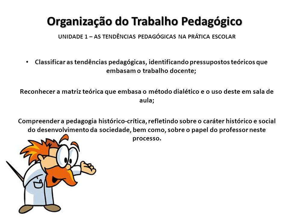Organização do Trabalho Pedagógico UNIDADE 1 – AS TENDÊNCIAS PEDAGÓGICAS NA PRÁTICA ESCOLAR Classificar as tendências pedagógicas, identificando press