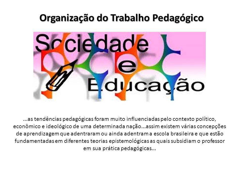 Organização do Trabalho Pedagógico...as tendências pedagógicas foram muito influenciadas pelo contexto político, econômico e ideológico de uma determi