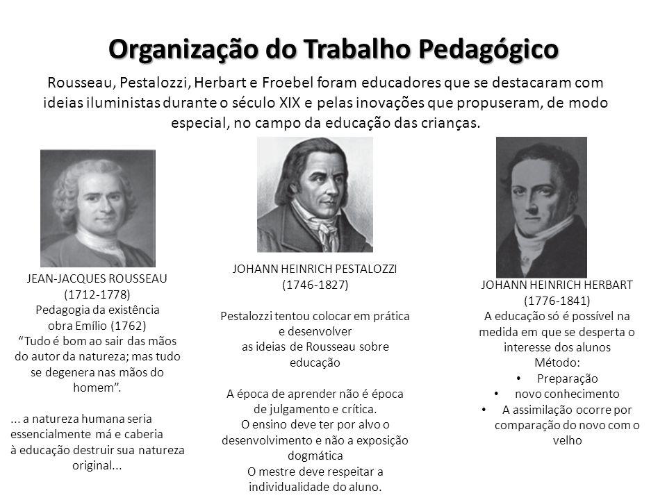 Organização do Trabalho Pedagógico Rousseau, Pestalozzi, Herbart e Froebel foram educadores que se destacaram com ideias iluministas durante o século