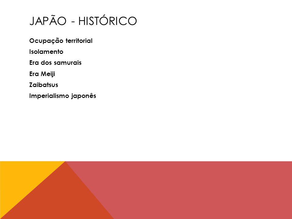 JAPÃO - HISTÓRICO Ocupação territorial Isolamento Era dos samurais Era Meiji Zaibatsus Imperialismo japonês