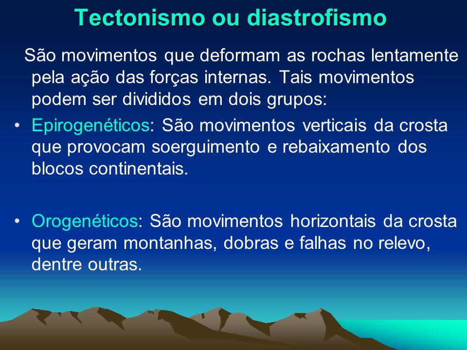 Tectonismo ou diastrofismo São movimentos que deformam as rochas lentamente pela ação das forças internas. Tais movimentos podem ser divididos em dois