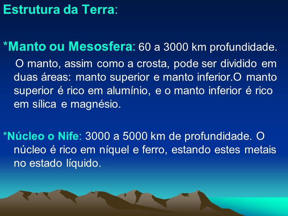 Estrutura da Terra: *Manto ou Mesosfera: 60 a 3000 km profundidade. O manto, assim como a crosta, pode ser dividido em duas áreas: manto superior e ma