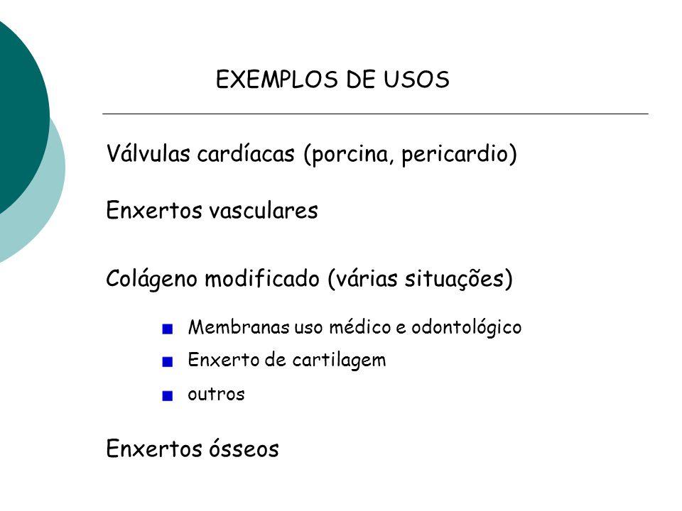 EXEMPLOS DE USOS Válvulas cardíacas (porcina, pericardio) Enxertos vasculares Colágeno modificado (várias situações) Enxertos ósseos Membranas uso médico e odontológico Enxerto de cartilagem outros