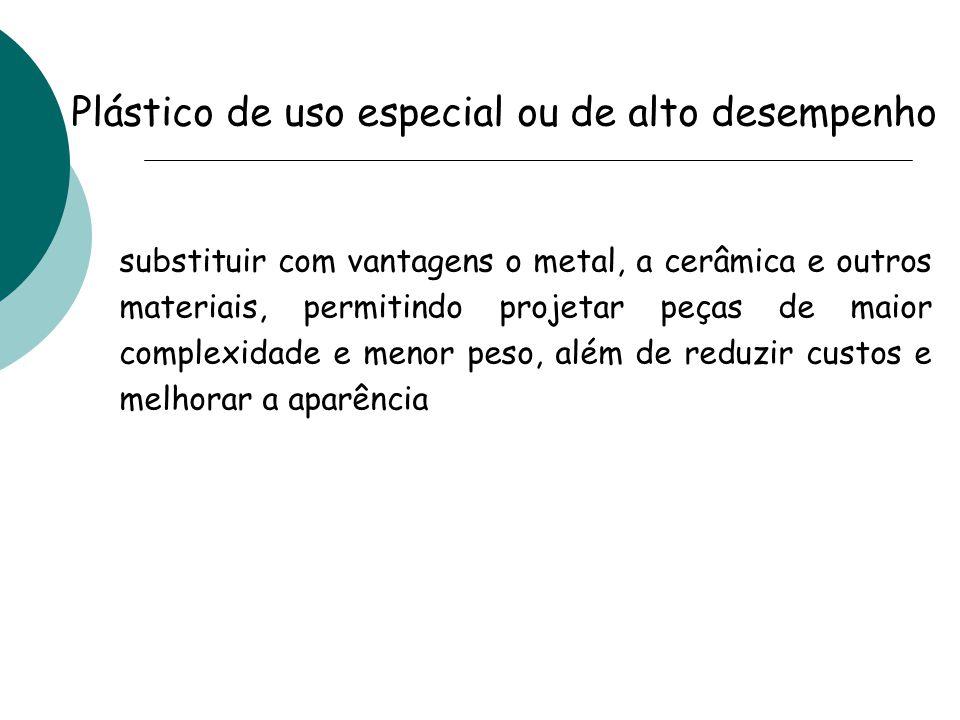 polissulfona (PSU) poli(éter-éter-cetona) (PEEK) poli(sulfeto de fenileno) (PPS) polímeros de cristal líquido (LCP) poliftalamidas (PPA) poliamida-imida (PAI) Tais compostos destinam-se a aplicações de grande exigência em ambientes de elevada agressividade térmica, química, mecânica, e de stress