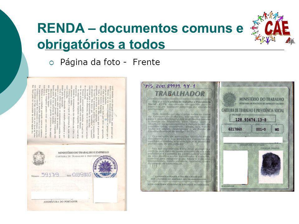RENDA – documentos comuns e obrigatórios a todos Página da foto - Frente