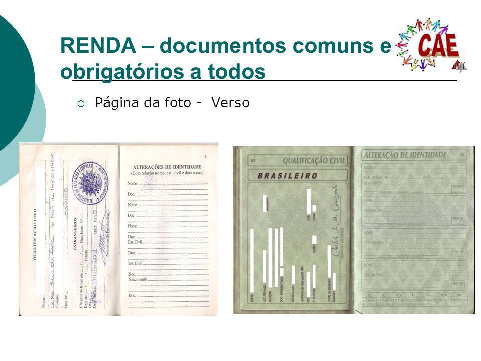 RENDA – documentos comuns e obrigatórios a todos Página da foto - Verso