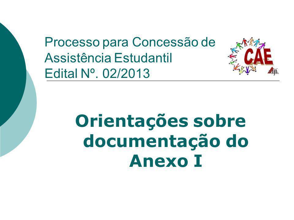 Processo para Concessão de Assistência Estudantil Edital Nº. 02/2013 Orientações sobre documentação do Anexo I