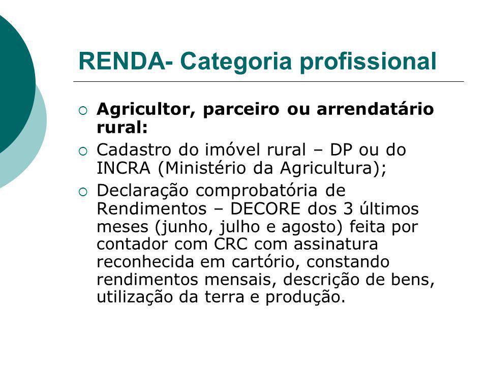 RENDA- Categoria profissional Agricultor, parceiro ou arrendatário rural: Cadastro do imóvel rural – DP ou do INCRA (Ministério da Agricultura); Decla