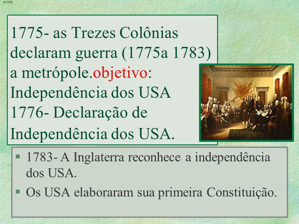 1775- as Trezes Colônias declaram guerra (1775a 1783) a metrópole.objetivo: Independência dos USA 1776- Declaração de Independência dos USA. §1783- A