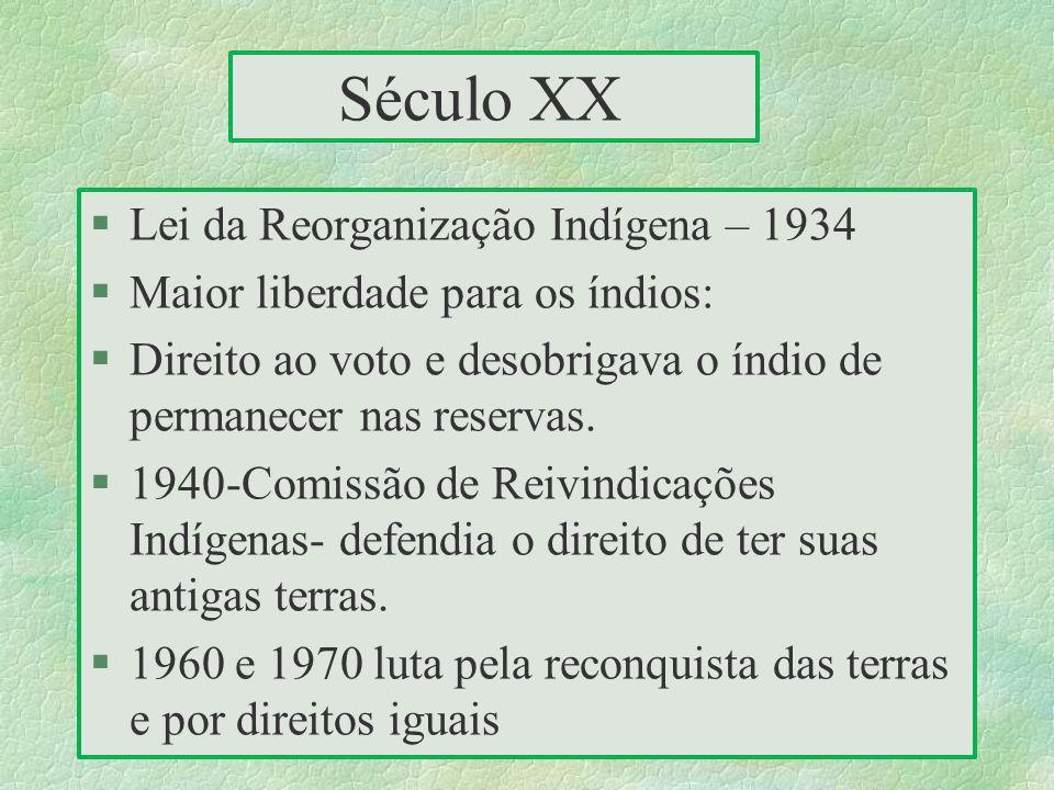 Século XX §Lei da Reorganização Indígena – 1934 §Maior liberdade para os índios: §Direito ao voto e desobrigava o índio de permanecer nas reservas. §1