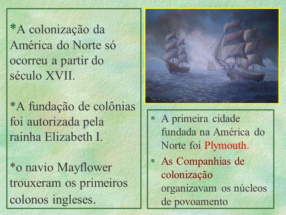 * A colonização da América do Norte só ocorreu a partir do século XVII. *A fundação de colônias foi autorizada pela rainha Elizabeth I. *o navio Mayfl