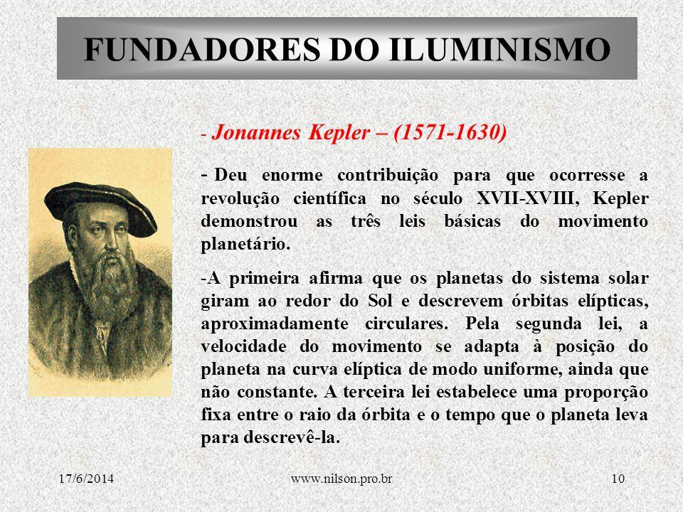 FUNDADORES DO ILUMINISMO - Blaise Pascal (1623-1662) - Lançou as bases de cálculo de probabilidades.