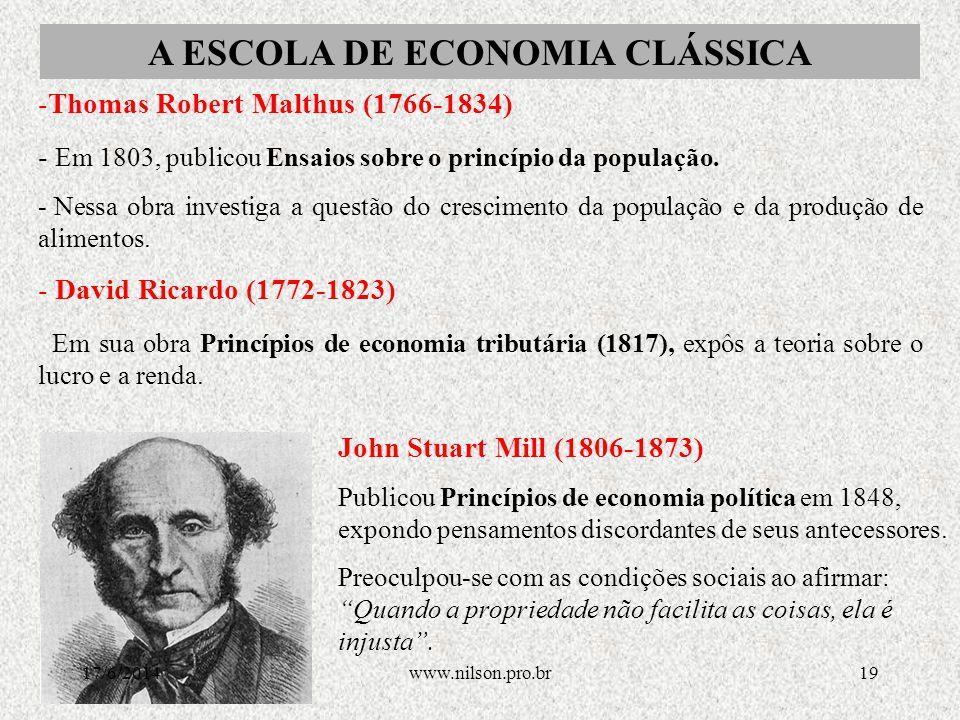 -Adam Smith: o liberalismo econômico -- O principal representante do liberalismo econômico foi Adam Smith (1723-1790), autor da famosa obra Ensaio sobre a riqueza das nações.