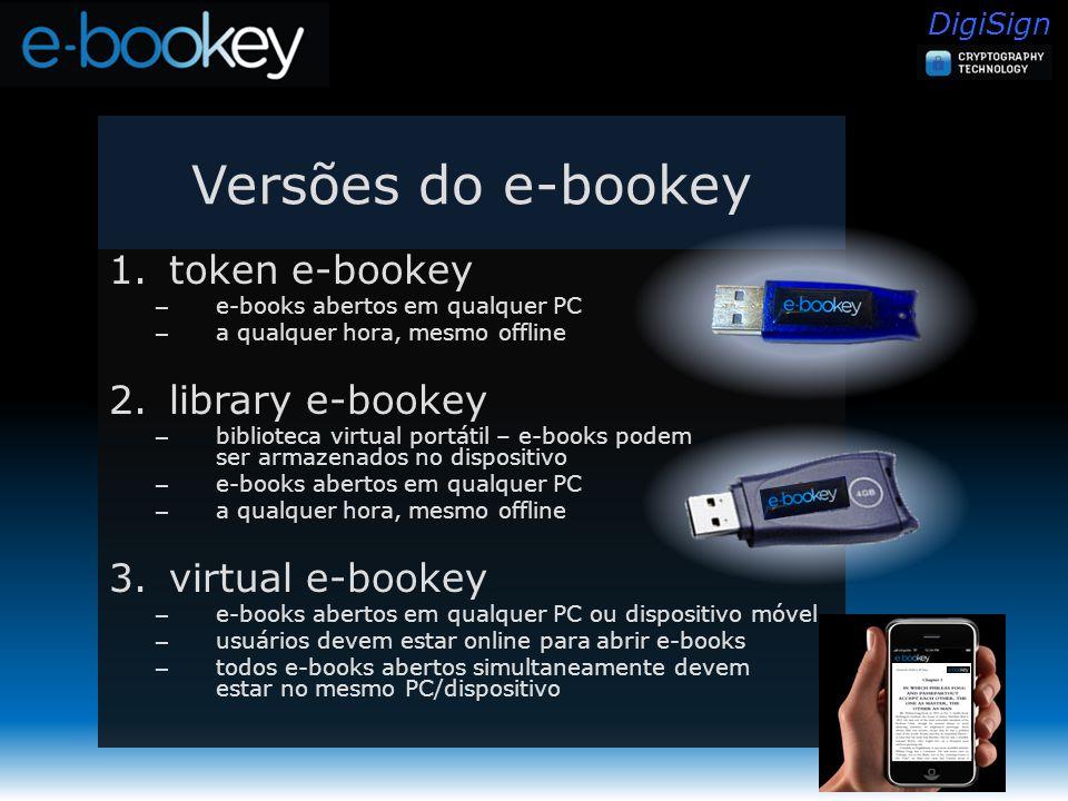 DigiSign Versões do e-bookey 1.token e-bookey – e-books abertos em qualquer PC – a qualquer hora, mesmo offline 2.library e-bookey – biblioteca virtual portátil – e-books podem ser armazenados no dispositivo – e-books abertos em qualquer PC – a qualquer hora, mesmo offline 3.virtual e-bookey – e-books abertos em qualquer PC ou dispositivo móvel – usuários devem estar online para abrir e-books – todos e-books abertos simultaneamente devem estar no mesmo PC/dispositivo