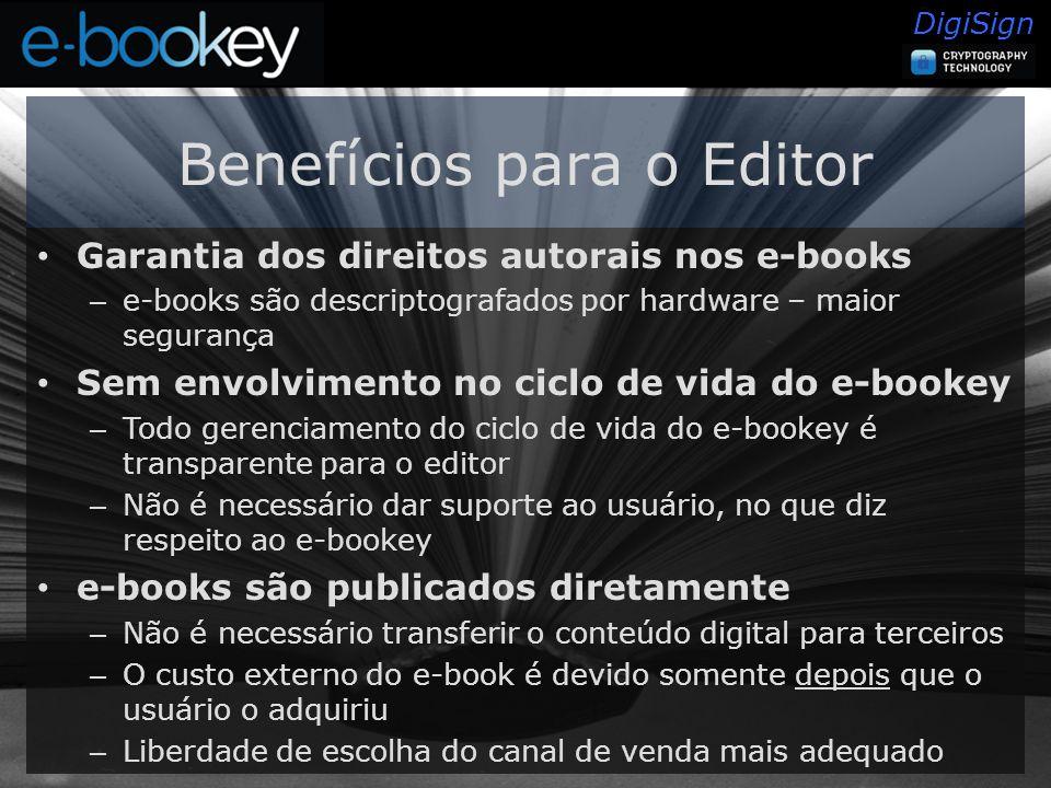 DigiSign Benefícios para o Editor Garantia dos direitos autorais nos e-books – e-books são descriptografados por hardware – maior segurança Sem envolvimento no ciclo de vida do e-bookey – Todo gerenciamento do ciclo de vida do e-bookey é transparente para o editor – Não é necessário dar suporte ao usuário, no que diz respeito ao e-bookey e-books são publicados diretamente – Não é necessário transferir o conteúdo digital para terceiros – O custo externo do e-book é devido somente depois que o usuário o adquiriu – Liberdade de escolha do canal de venda mais adequado