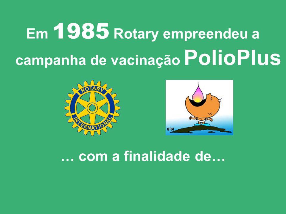 1985: MORRIAM de paralisia infantil 1.000 crianças por dia ! = aproximadamente 350.000 crianças por ano !