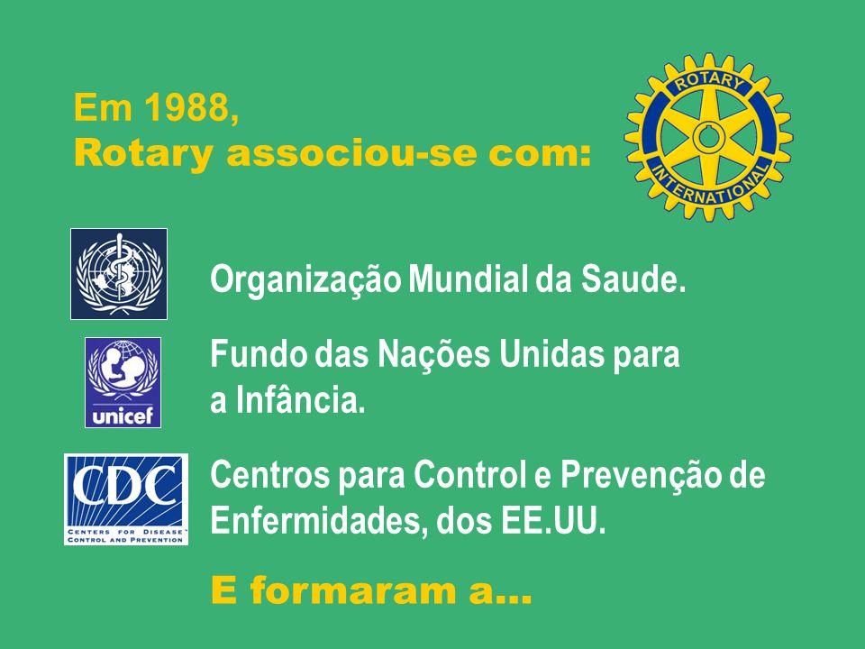 Organização Mundial de Saúde. Fundo das Nações Unidas para a Infância. Centros para Control e Prevenção de Enfermidades, dos EE.UU. Em 1988, Rotary as