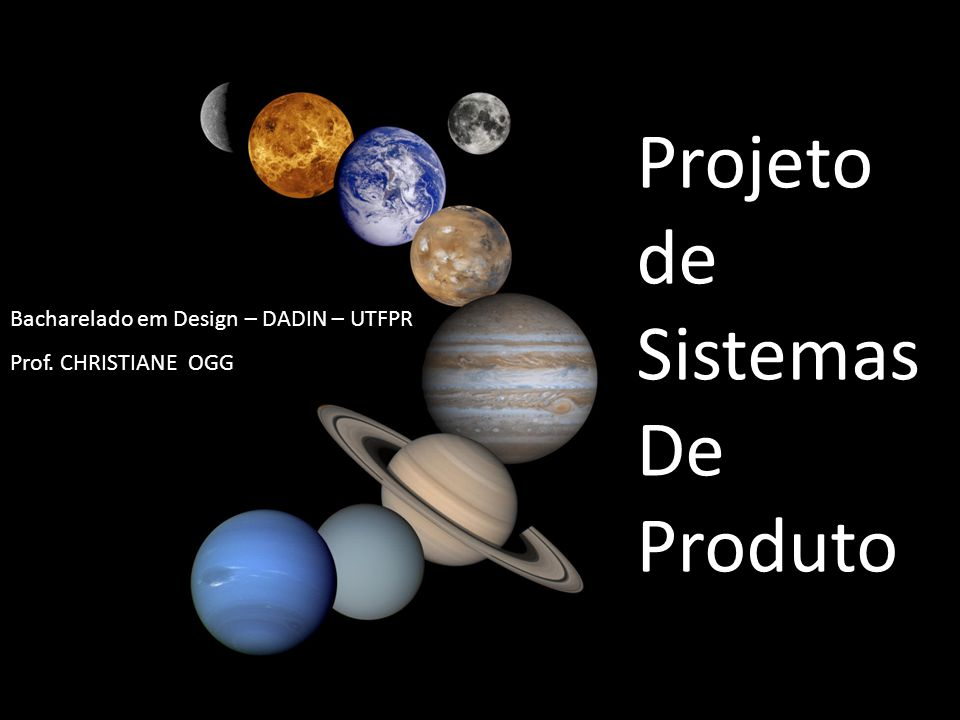 Bacharelado em Design – DADIN – UTFPR Prof. CHRISTIANE OGG Projeto de Sistemas De Produto