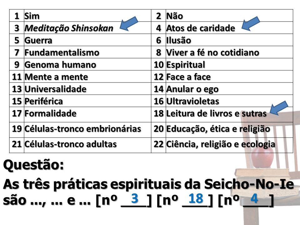 Questão: 1Sim2Não 3 Meditação Shinsokan 4 Atos de caridade 5Guerra6Ilusão 7Fundamentalismo8 Viver a fé no cotidiano 9 Genoma humano 10Espiritual 11 Me