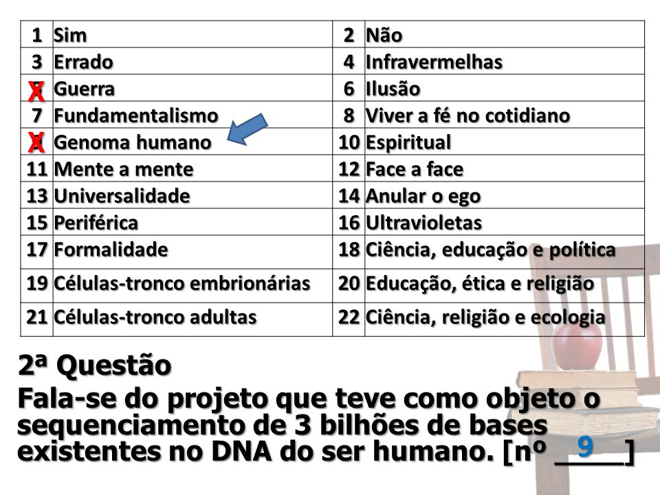 2ª Questão Fala-se do projeto que teve como objeto o sequenciamento de 3 bilhões de bases existentes no DNA do ser humano. [nº ____] 1Sim2Não 3Errado4