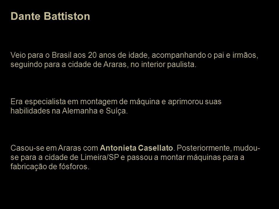Dante Battiston Veio para o Brasil aos 20 anos de idade, acompanhando o pai e irmãos, seguindo para a cidade de Araras, no interior paulista.