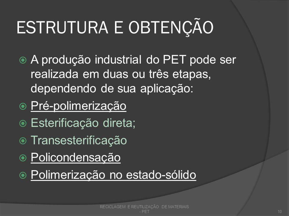 ESTRUTURA E OBTENÇÃO A produção industrial do PET pode ser realizada em duas ou três etapas, dependendo de sua aplicação: Pré-polimerização Esterifica
