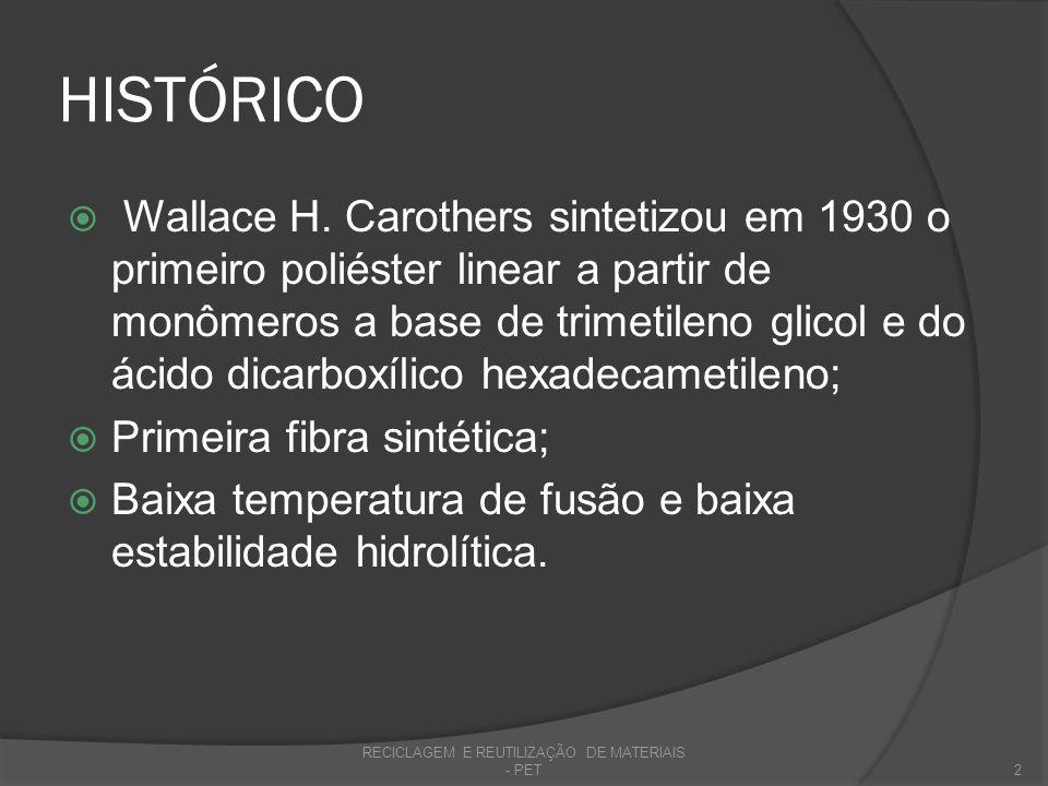 HISTÓRICO Em 1946, Whinfield e Dickson descobriram o poli(tereftalato de etileno); Alta temperatura de fusão (~265 °C) e alta estabilidade hidrolítica devido a presença de anéis aromáticos na cadeia principal; Pesquisas (EUA e Europa), à partir da 2° Guerra, nos anos 50, levaram a produção industrial; RECICLAGEM E REUTILIZAÇÃO DE MATERIAIS - PET3