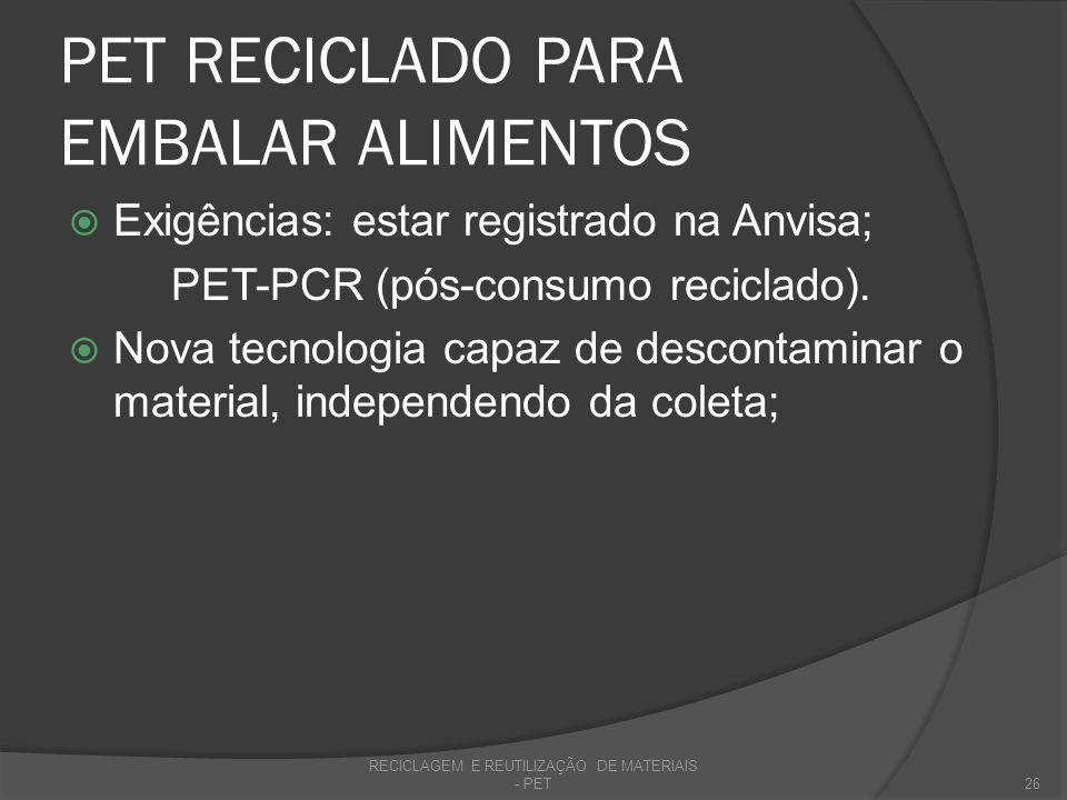 PET RECICLADO PARA EMBALAR ALIMENTOS De acordo com a Portaria nº 987 de 1998 da Secretaria de Vigilância Sanitária do Ministério da Saúde: utilização de PET pós-consumo deve ser utilizadas para embalagens multicamadas destinadas ao acondicionamento de bebidas carbonatadas não alcoólicas.