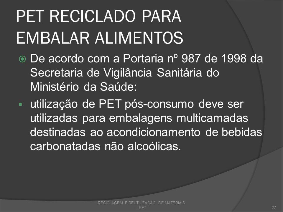 PET RECICLADO PARA EMBALAR ALIMENTOS De acordo com a Portaria nº 987 de 1998 da Secretaria de Vigilância Sanitária do Ministério da Saúde: utilização