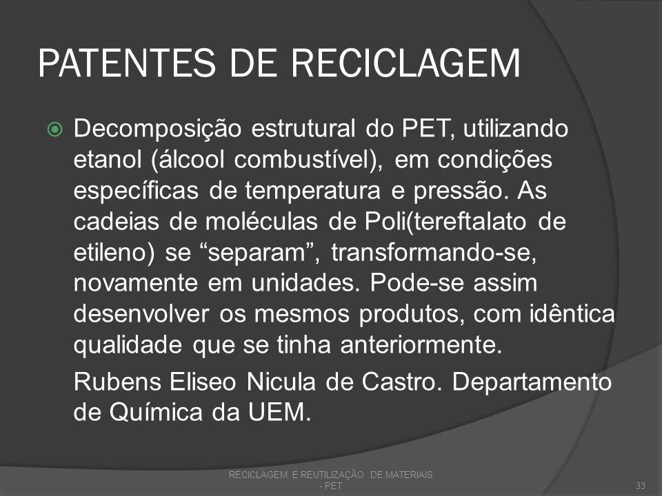 REFERÊNCIAS ABIPET - Associação Brasileira da Indústria do PET.