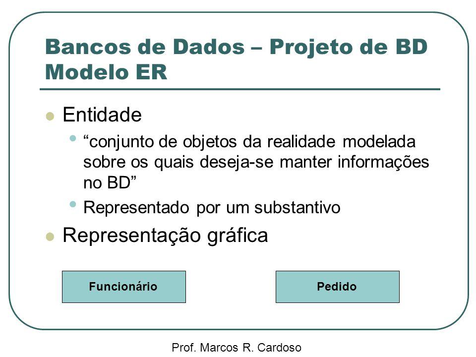 Bancos de Dados – Projeto de BD Modelo ER Prof. Marcos R. Cardoso Entidade conjunto de objetos da realidade modelada sobre os quais deseja-se manter i