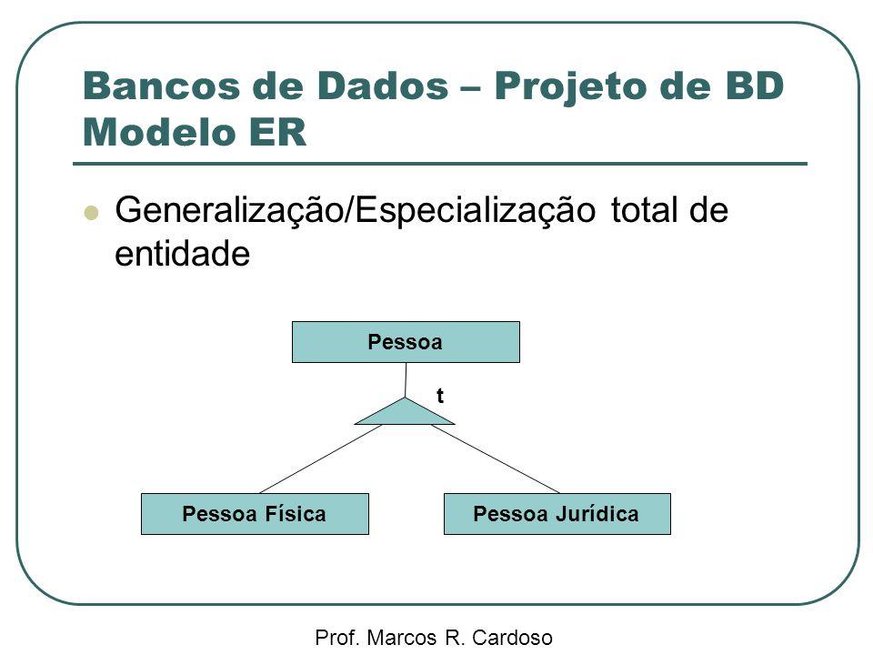 Bancos de Dados – Projeto de BD Modelo ER Prof. Marcos R. Cardoso Generalização/Especialização total de entidade Pessoa FísicaPessoa Jurídica Pessoa t