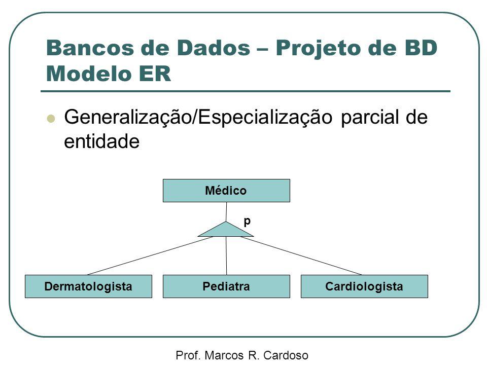 Bancos de Dados – Projeto de BD Modelo ER Prof. Marcos R. Cardoso Generalização/Especialização parcial de entidade DermatologistaCardiologista Médico