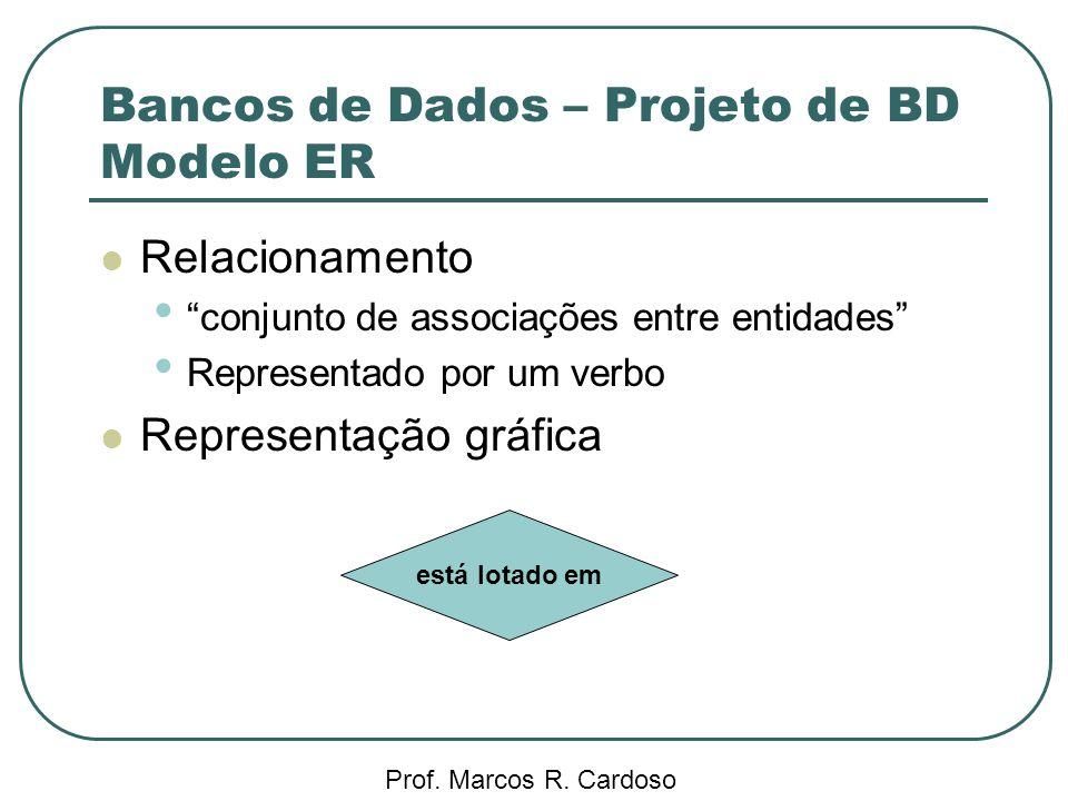Bancos de Dados – Projeto de BD Modelo ER Prof. Marcos R. Cardoso Relacionamento conjunto de associações entre entidades Representado por um verbo Rep