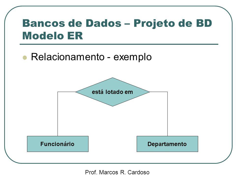 Bancos de Dados – Projeto de BD Modelo ER Prof. Marcos R. Cardoso Relacionamento - exemplo está lotado em FuncionárioDepartamento