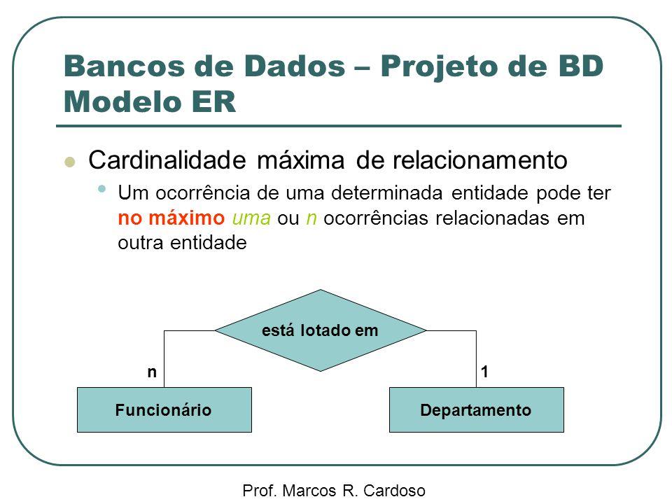 Bancos de Dados – Projeto de BD Modelo ER Prof. Marcos R. Cardoso Cardinalidade máxima de relacionamento Um ocorrência de uma determinada entidade pod