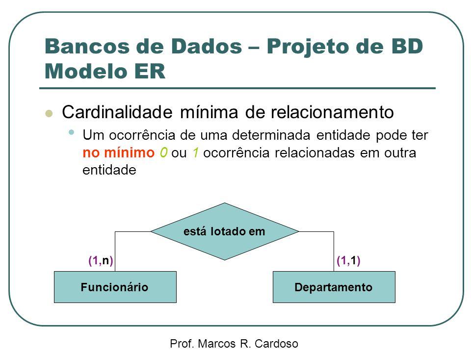 Bancos de Dados – Projeto de BD Modelo ER Prof. Marcos R. Cardoso Cardinalidade mínima de relacionamento Um ocorrência de uma determinada entidade pod