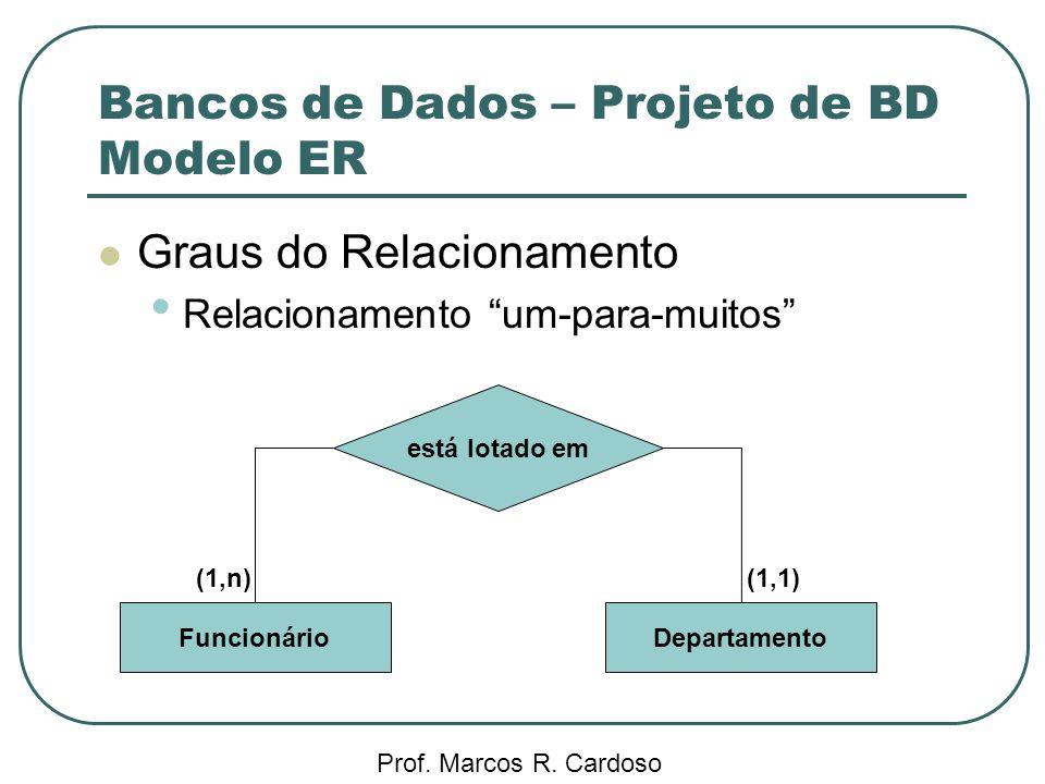 Bancos de Dados – Projeto de BD Modelo ER Prof. Marcos R. Cardoso Graus do Relacionamento Relacionamento um-para-muitos está lotado em FuncionárioDepa