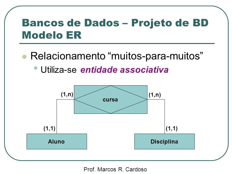 Bancos de Dados – Projeto de BD Modelo ER Prof. Marcos R. Cardoso Relacionamento muitos-para-muitos Utiliza-se entidade associativa cursa AlunoDiscipl