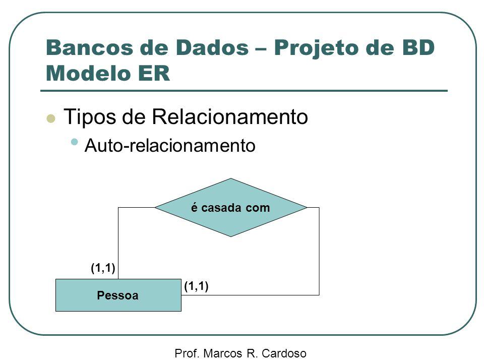 Bancos de Dados – Projeto de BD Modelo ER Prof. Marcos R. Cardoso Tipos de Relacionamento Auto-relacionamento é casada com Pessoa (1,1)