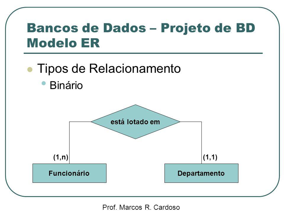 Bancos de Dados – Projeto de BD Modelo ER Prof. Marcos R. Cardoso Tipos de Relacionamento Binário está lotado em FuncionárioDepartamento (1,n)(1,1)