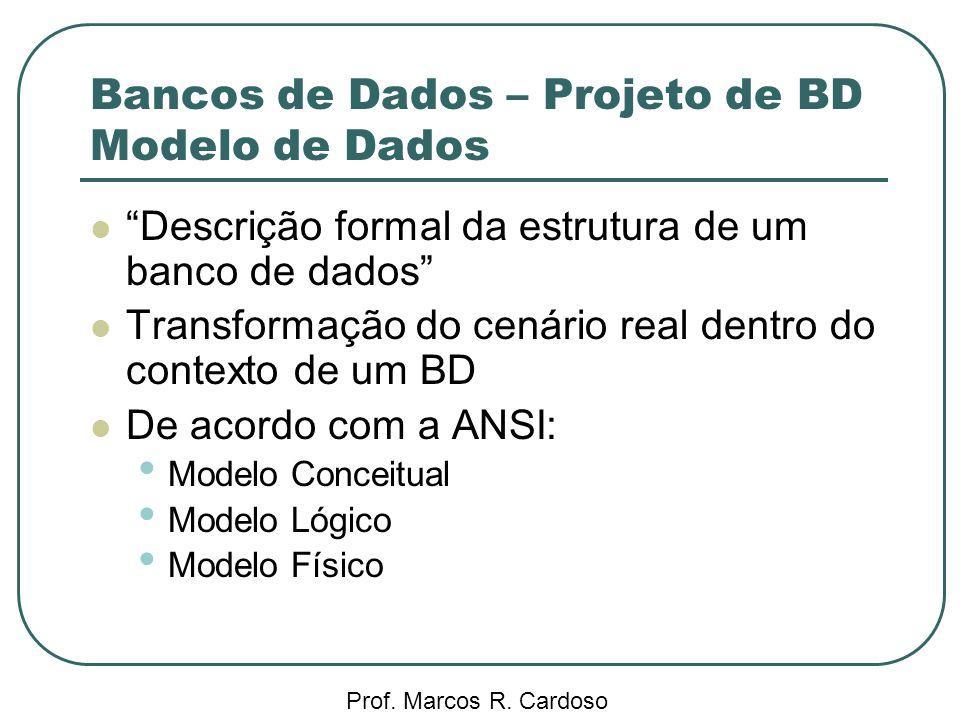 Bancos de Dados – Projeto de BD Modelo de Dados Prof. Marcos R. Cardoso Descrição formal da estrutura de um banco de dados Transformação do cenário re
