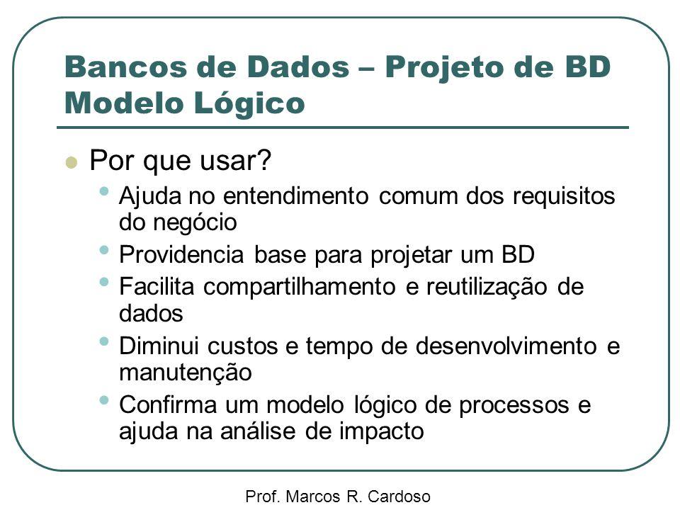 Bancos de Dados – Projeto de BD Modelo Lógico Prof. Marcos R. Cardoso Por que usar? Ajuda no entendimento comum dos requisitos do negócio Providencia