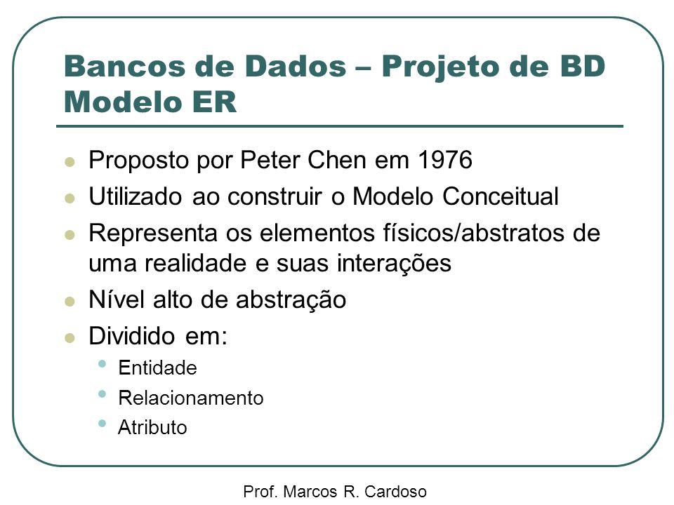 Bancos de Dados – Projeto de BD Modelo ER Prof. Marcos R. Cardoso Proposto por Peter Chen em 1976 Utilizado ao construir o Modelo Conceitual Represent