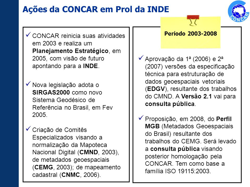 Aprovação da 1ª (2006) e 2ª (2007) versões da especificação técnica para estruturação de dados geoespaciais vetoriais (EDGV), resultante dos trabalhos