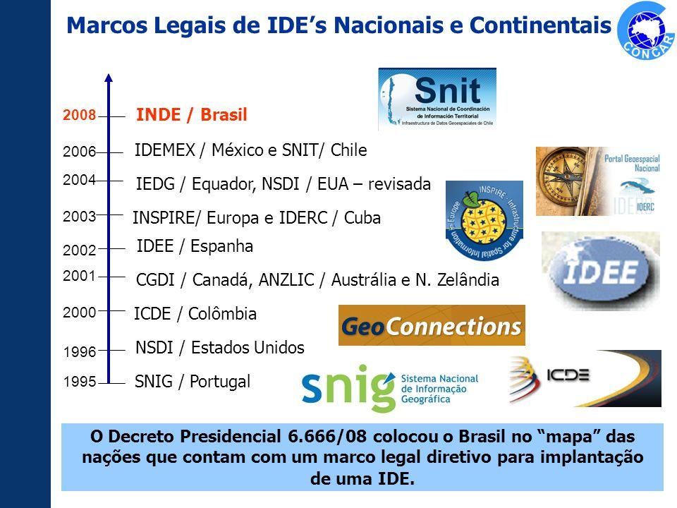 CGDI / Canadá, ANZLIC / Austrália e N. Zelândia IEDG / Equador, NSDI / EUA – revisada 1995 1996 2000 2001 2002 2003 2004 SNIG / Portugal NSDI / Estado