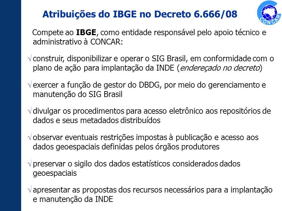 Compete ao IBGE, como entidade responsável pelo apoio técnico e administrativo à CONCAR: construir, disponibilizar e operar o SIG Brasil, em conformid