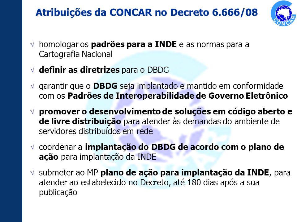 homologar os padrões para a INDE e as normas para a Cartografia Nacional definir as diretrizes para o DBDG garantir que o DBDG seja implantado e manti