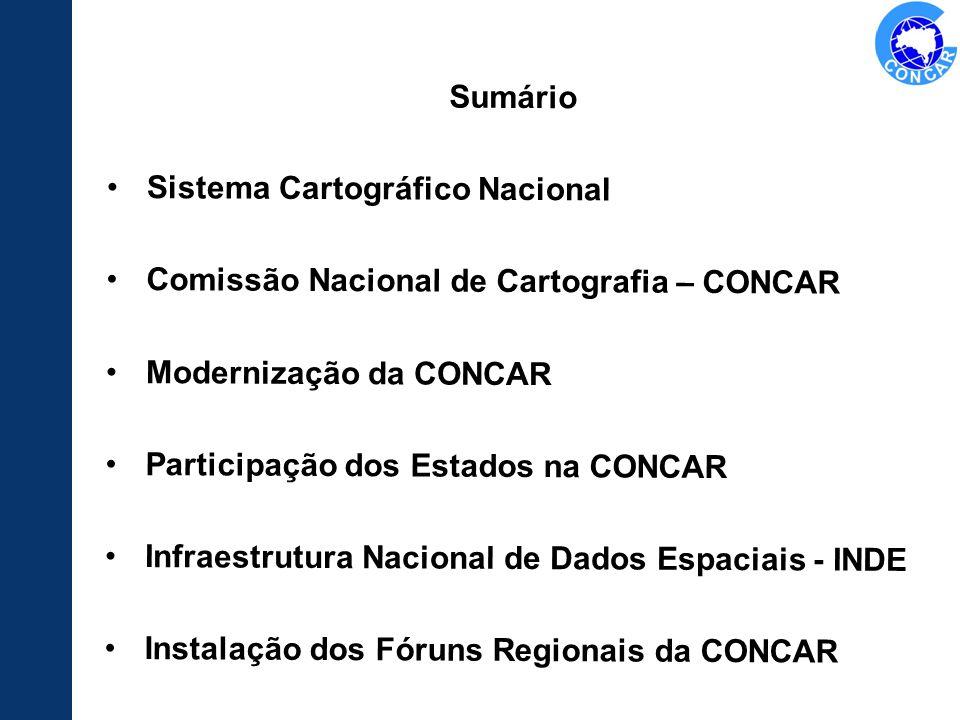 Sumário Sistema Cartográfico Nacional Comissão Nacional de Cartografia – CONCAR Modernização da CONCAR Participação dos Estados na CONCAR Infraestrutu